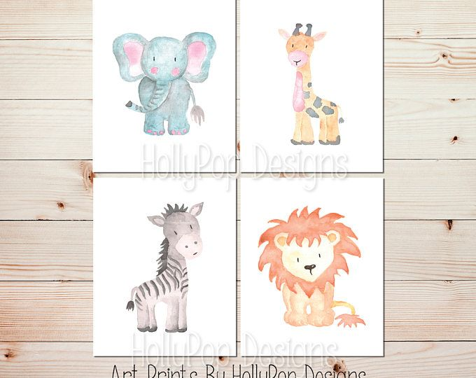 Nursery Wall Art Baby Animal Decor Watercolor Zoo Animals Artwork