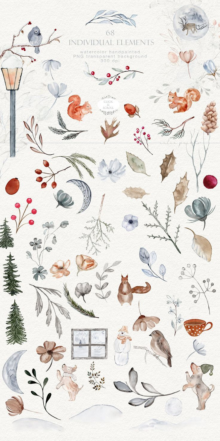 Photo of Autumn in winter – watercolor graphics by Iulia paint on the creative market #ideas # …
