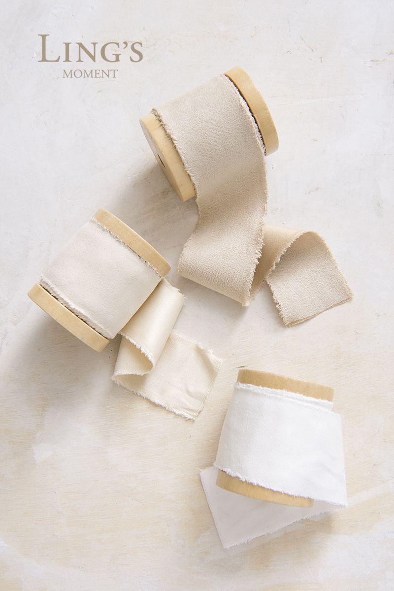 Handmade Simple Raw Frayed Edges Floppy Bow Boho Chic White SILK VELVET Bow