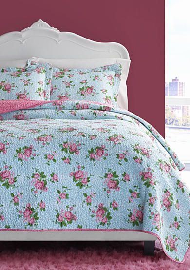 Betsey Johnson Leopard Floral Quilt Set Quilt Sets Betsey Johnson Bedding Floral Quilt