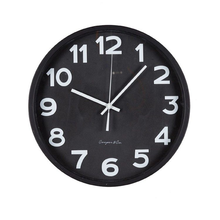 Cooper Co Modern Wall Clock Black Wall Clock Black And White Wall Clock Modern Wall Clock