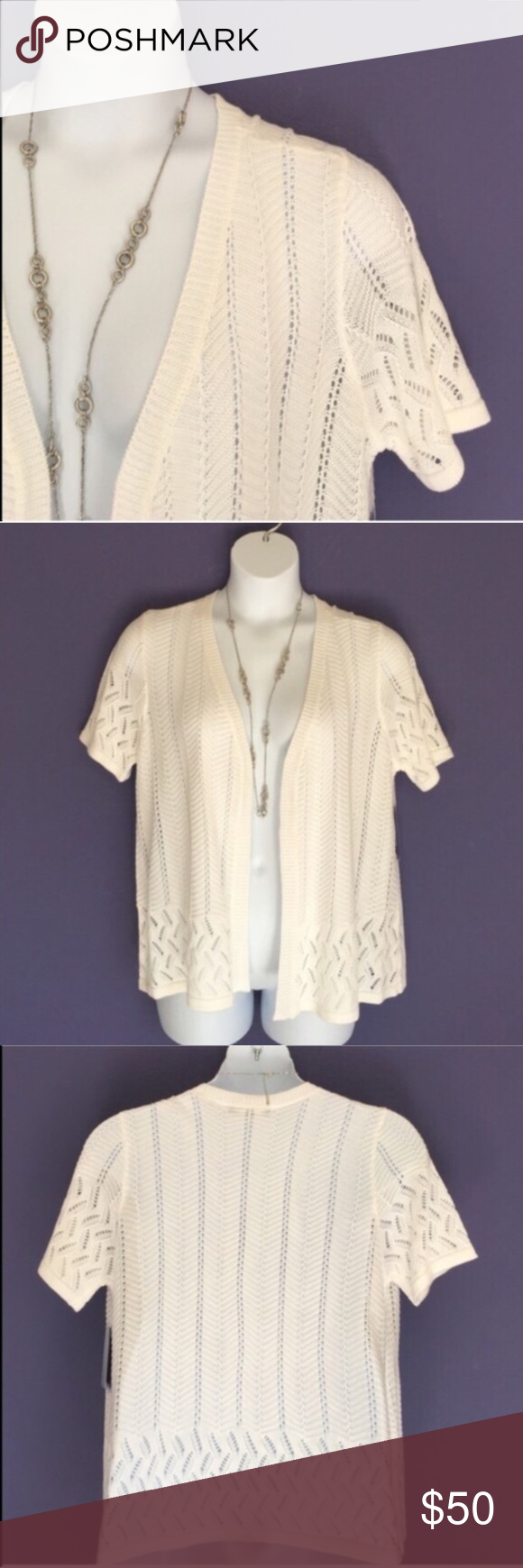 Cyrus Short Sleeve White Cardigan NWT- This sweater cardigan is ...