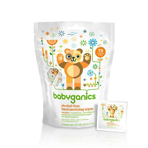 Babyganics Alcohol-Free- Hand Sanitizing Wipes- Mandarin- 75 Individual Packets