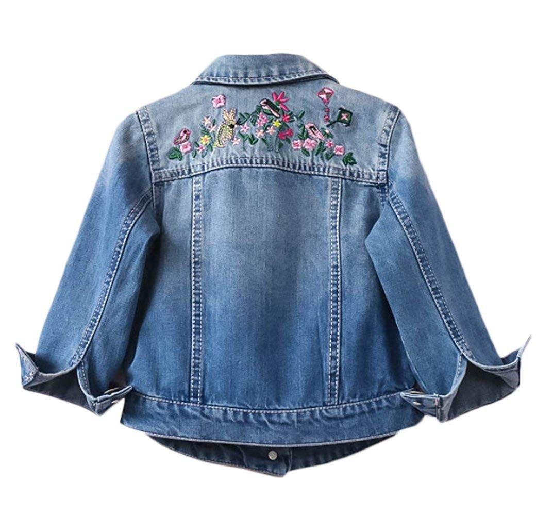Girls Embellished Denim Jacket Floral Bouquet