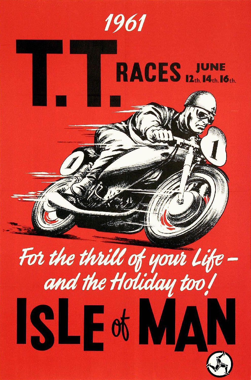 Isle Of Man Tt 1961 Poster Silodrome Vintage Motorcycle Posters Motorcycle Posters Isle Of Man