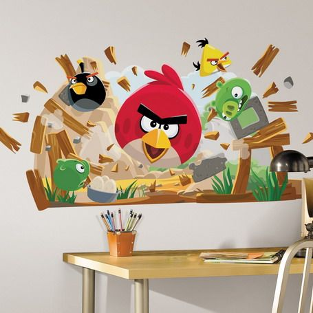 Angry Birds Wall Murals In Kids Bedroom Designs Ideas