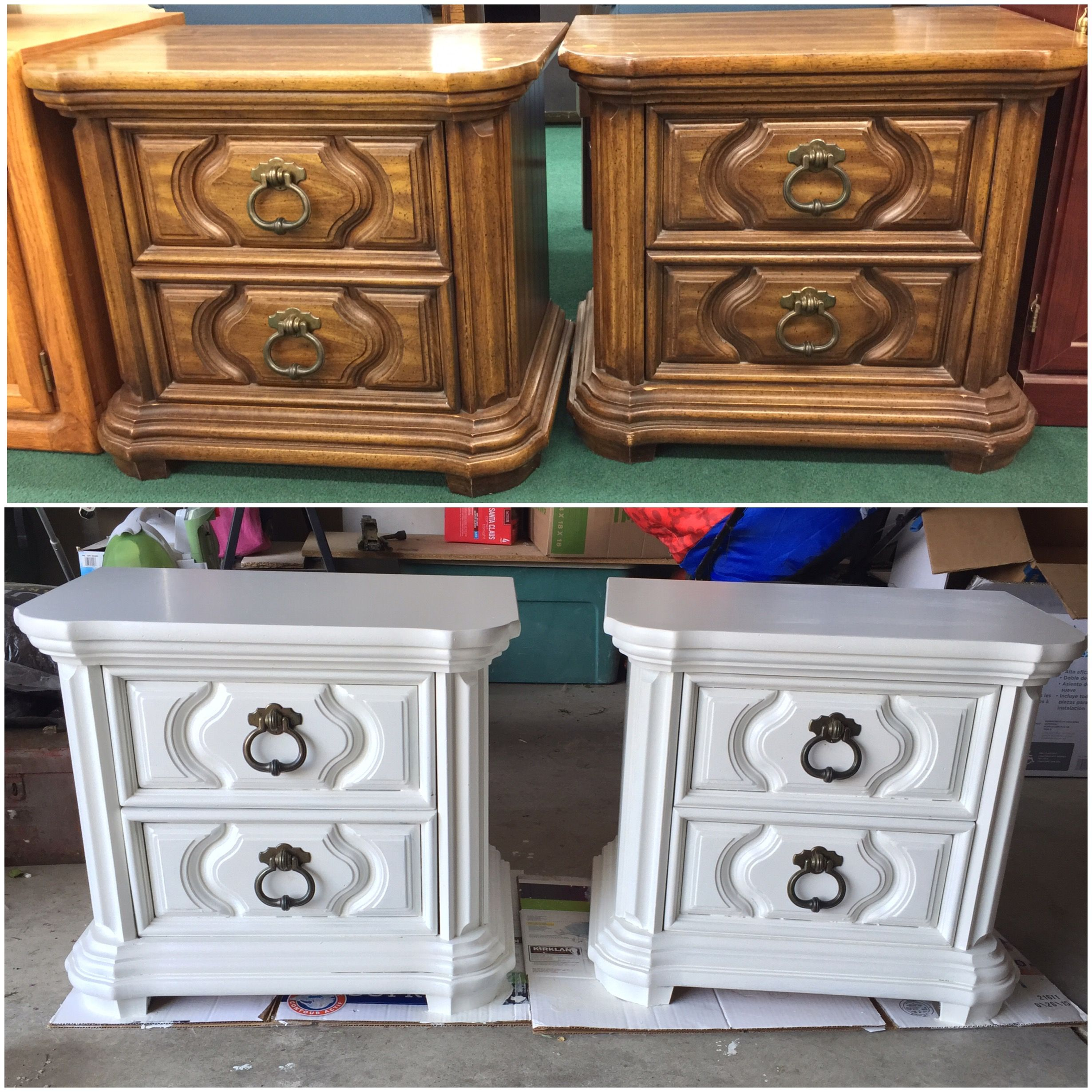 Before And After Painted Night Stands With Valspar