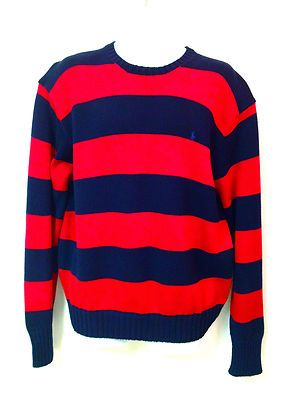Ralph Lauren Mens Polo Navy Red Crew Neck Bold Stripe Knit Sweater L