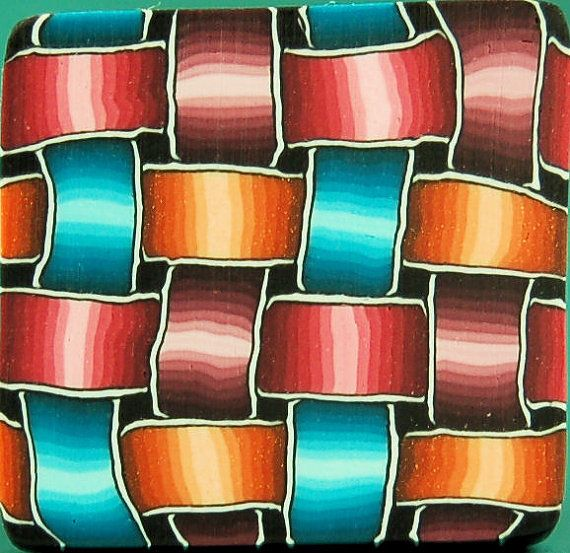 Colorful Polymer Clay Basketweave Square Cane  by ikandiclay, $10.00
