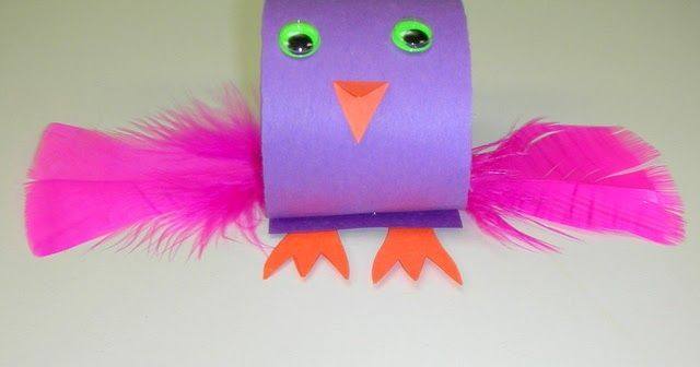 """We made cute little birds today! I started by rolling up a 2"""" wide piece of construction paper and stapling it.  Then I cut out some simple ..."""