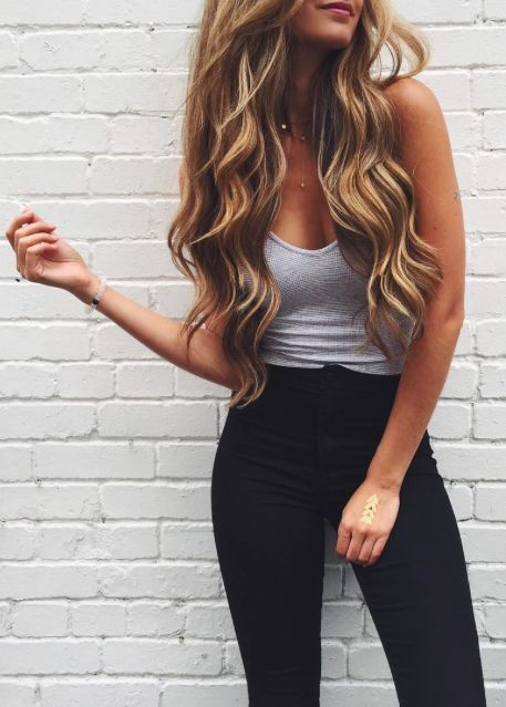 Casual Look Long Wavy Hair Grey Cami And High Waist Black Pants Long Hair Styles Party Outfit Jeans Fashion