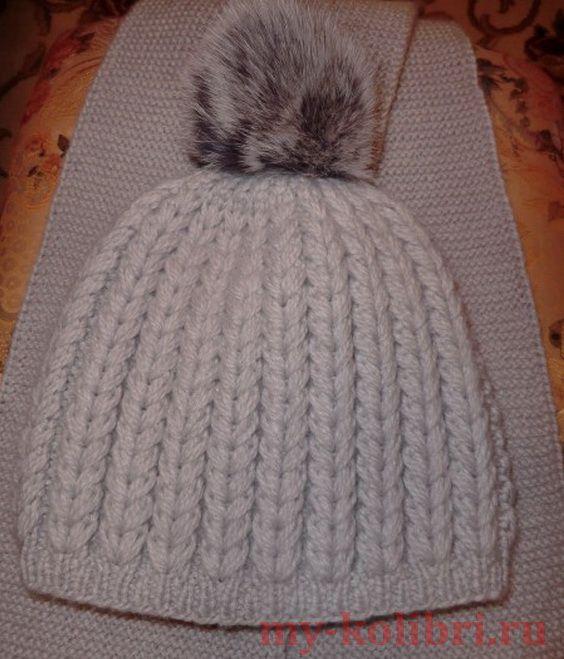Как связать шапку спицами рельефным узором  описание вязания на сайте  Колибри. Шапочка очень простая 55f42c8ae7db4