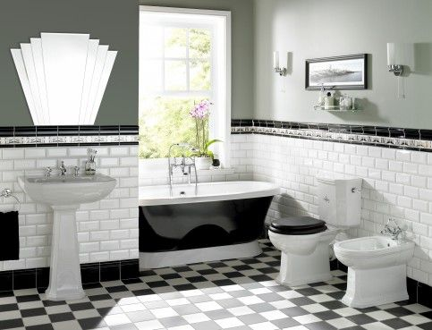 The details that make a black-and-white art deco bathrooms - Comfortable  home