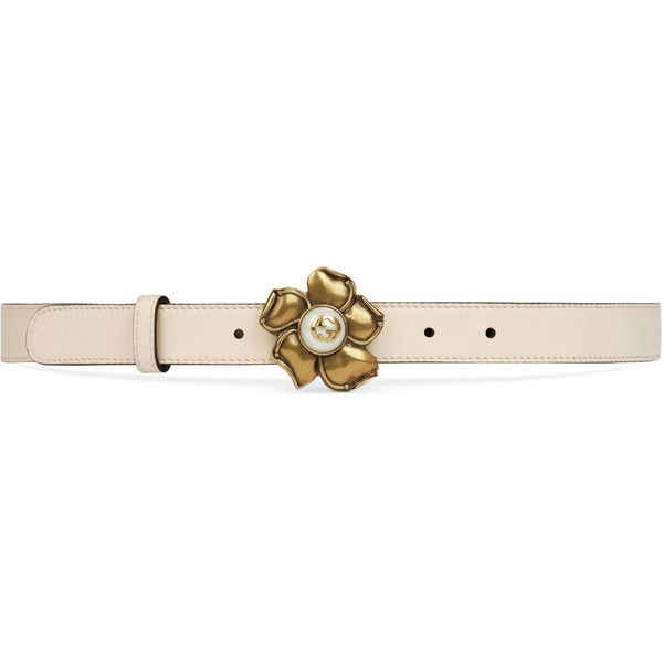 31d0c7fea09 Gucci Leather Belt With Metal Flower ( 450) ❤ liked on Polyvore featuring  accessories