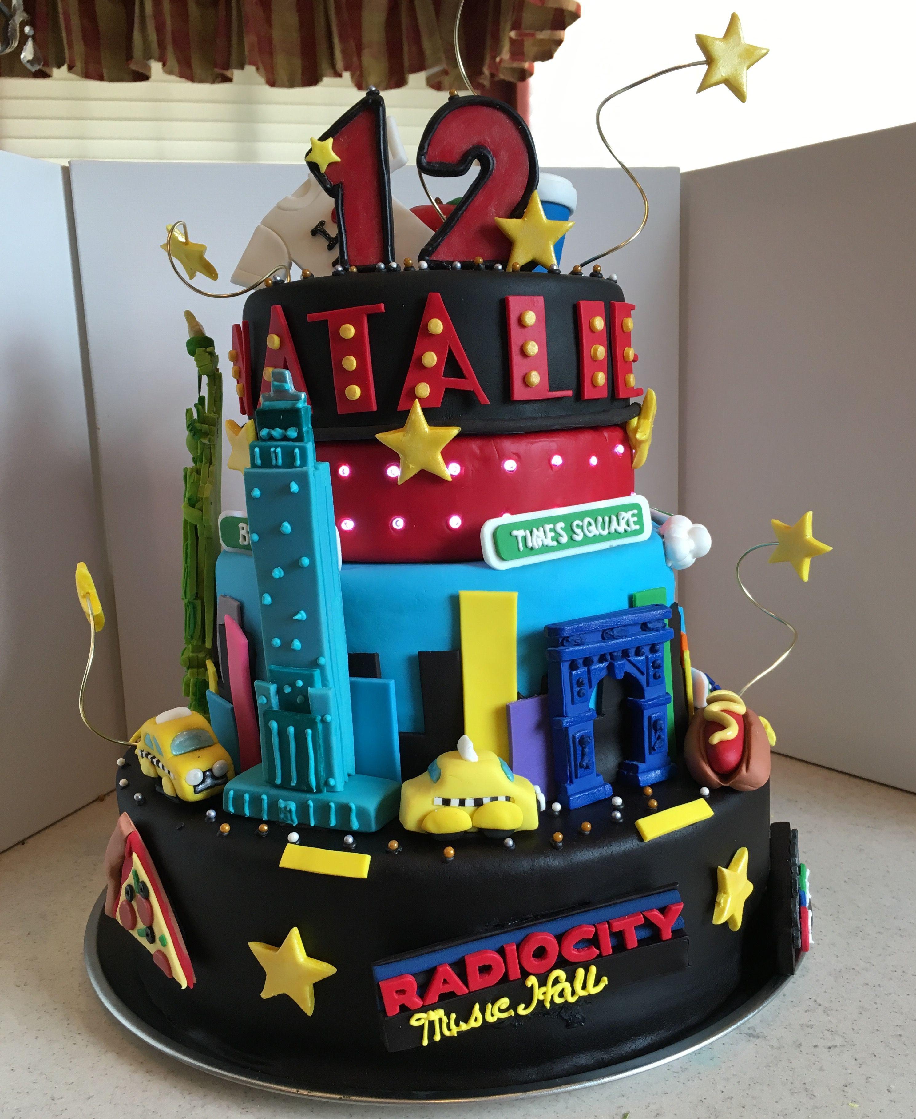 Awesome New York City Birthday Cake With Lights Cake Light Cakes Funny Birthday Cards Online Aboleapandamsfinfo