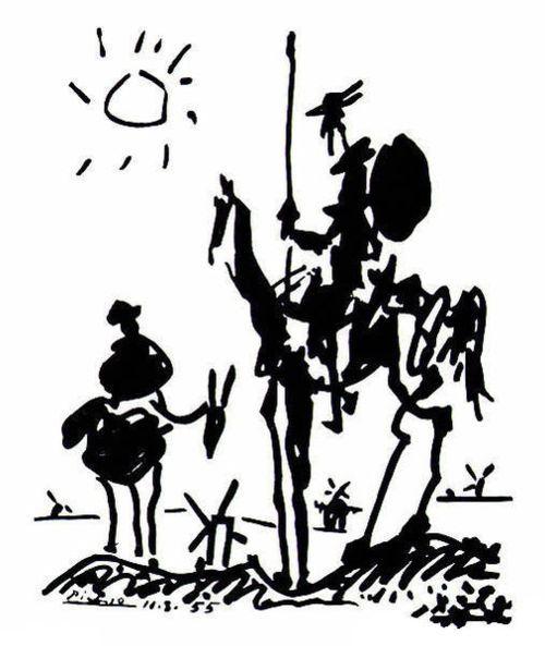 Pablo Picasso, drawing, don quixote, 1955