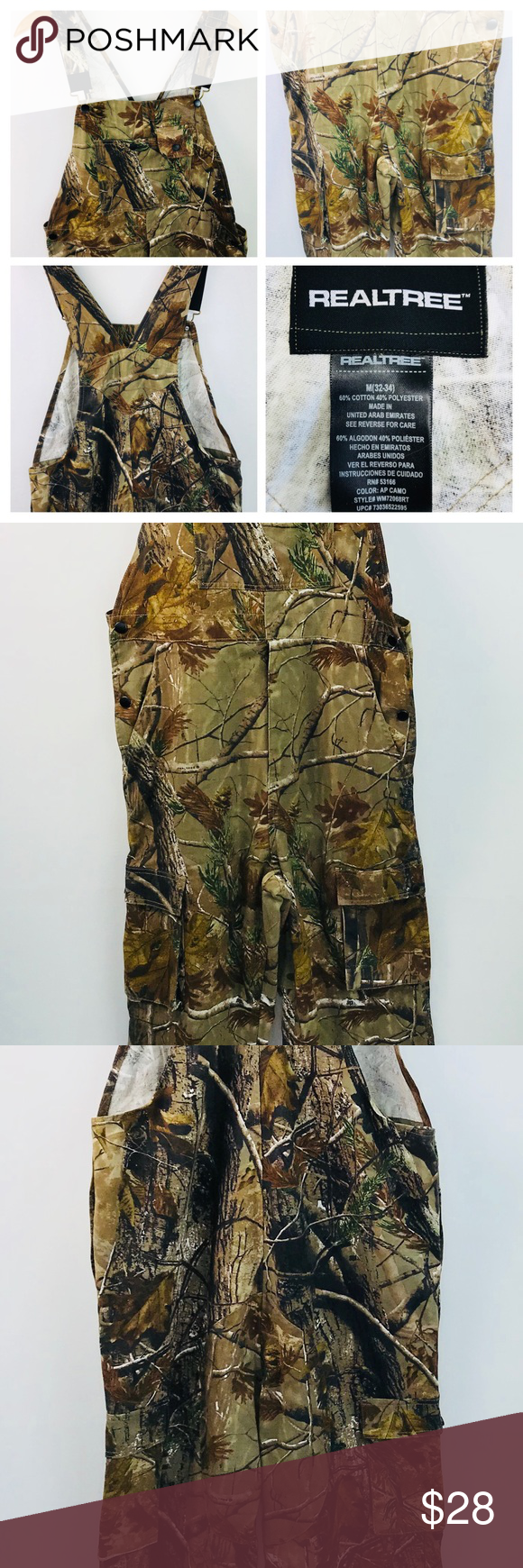 mens realtree camo bib overalls sz m non insulated this on uninsulated camo overalls for men id=57354