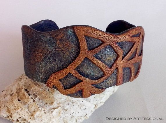 Blue copper carved polymer clay cuff bracelet by Artfessional