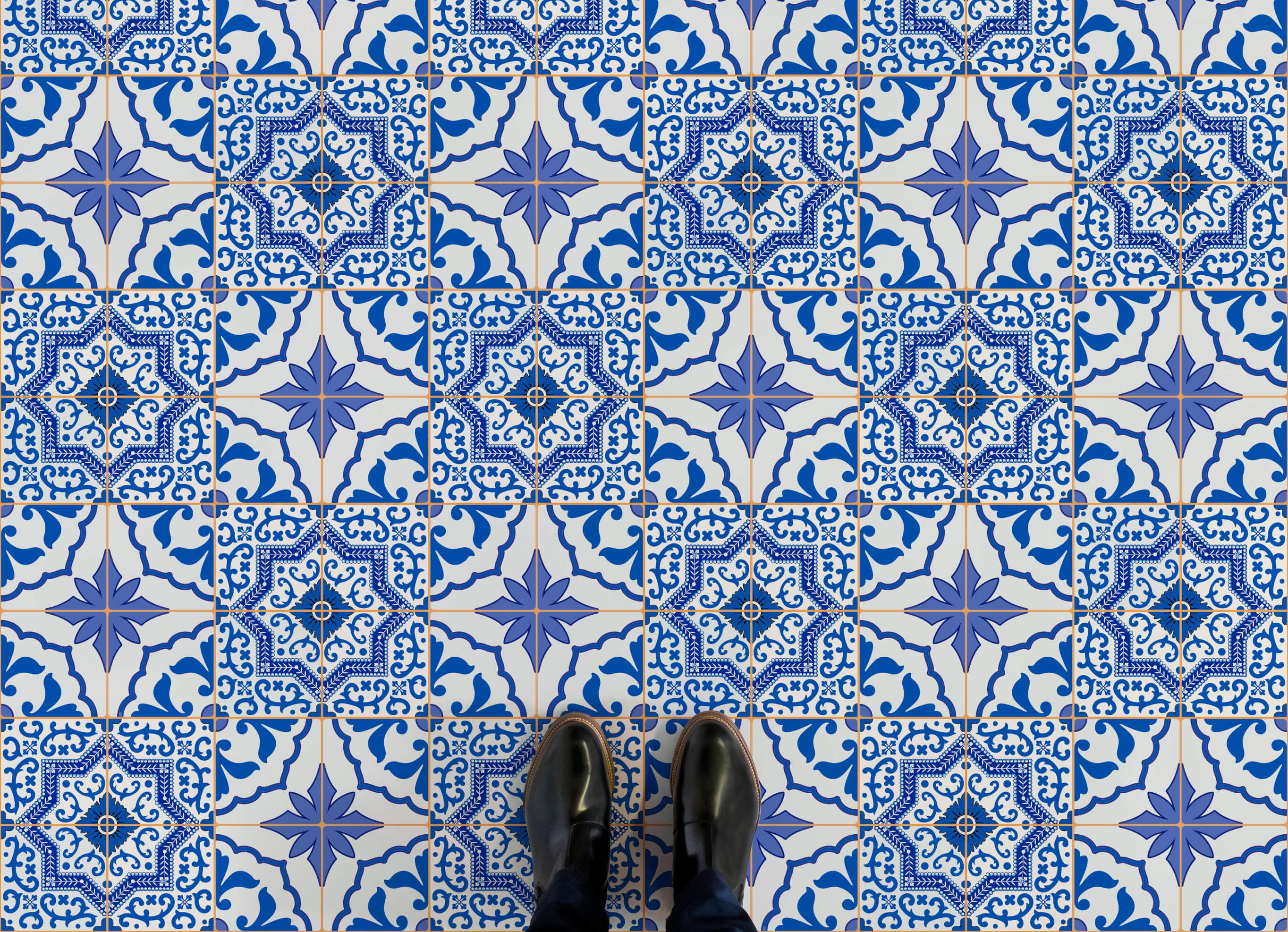 Cool Bathroom Vinyl traditional portuguese tile designs are recreated on to our