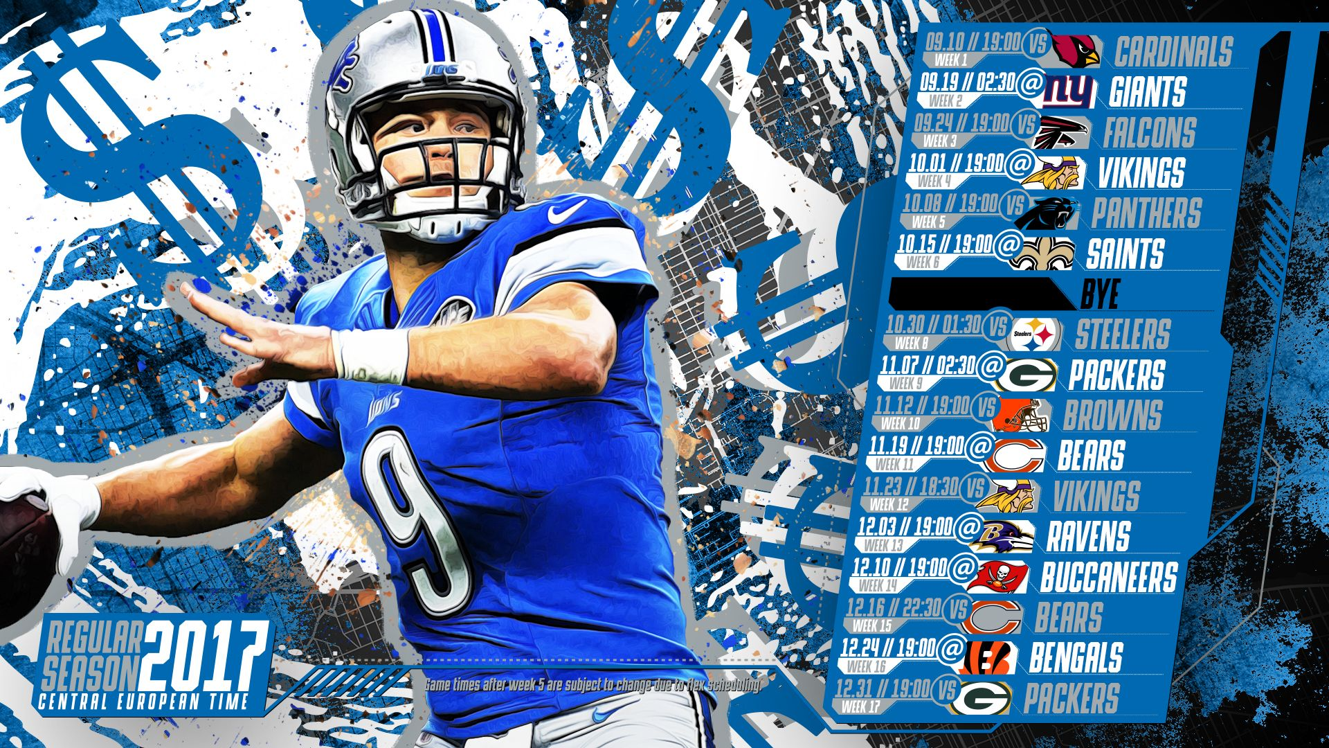 Schedule Wallpaper For The Detroit Lions Regular Season 2017 Central European Time Made By Tgersdiy Detroit Lions Detroit Lions