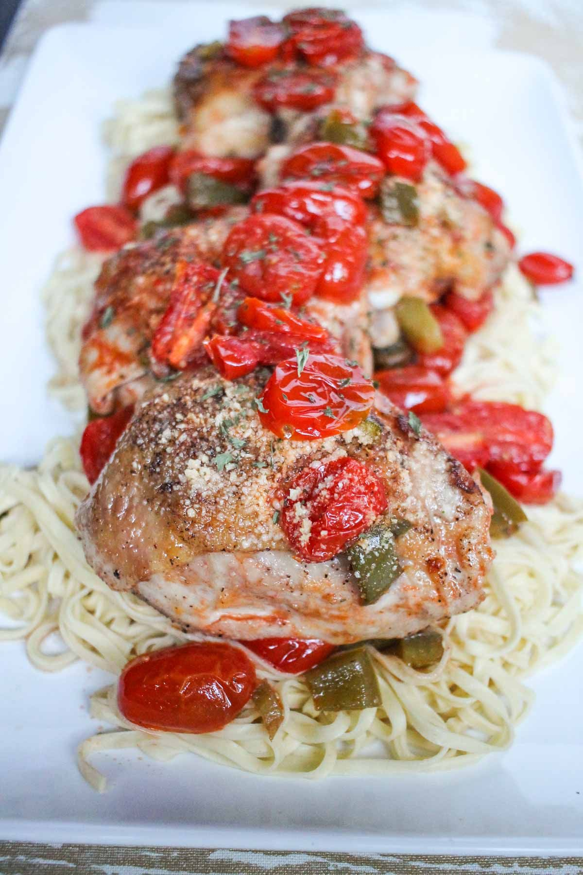 Roasted Tomato And White Wine Chicken Thighs Recipe Roasted Tomatoes White Wine Chicken Chicken Recipes