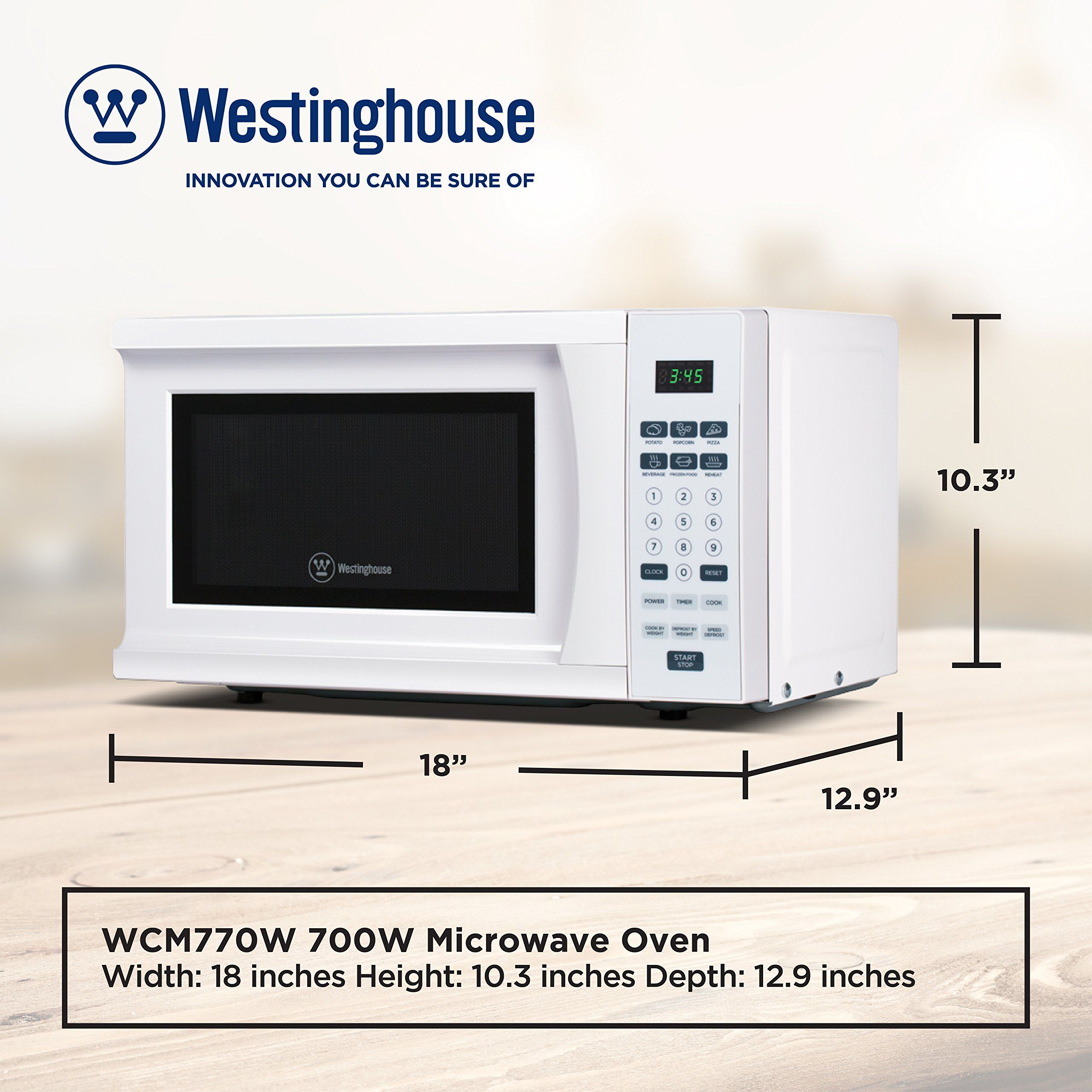 Westinghouse Wcm770w 700 Watt Counter Top Microwave Oven 0 7 Cubic Feet White Cabinet Click On The Image For Add Microwave Oven Top Microwaves Westinghouse