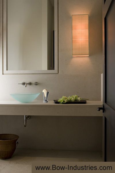 Bath with frosted sea glass sink bowl