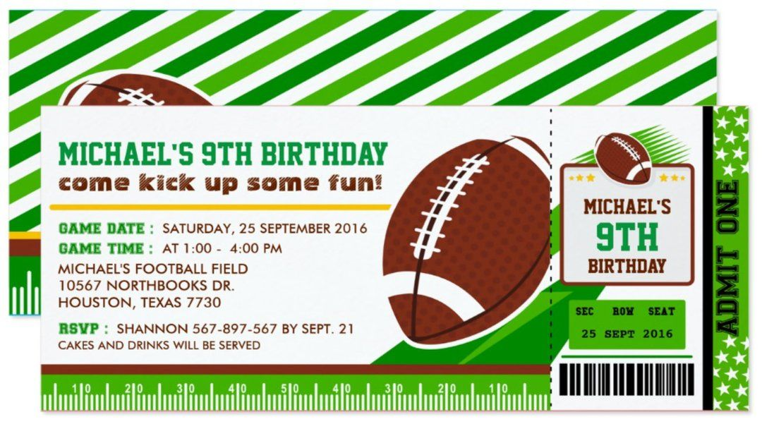 Super Bowl American Football Rugby Ticket Pass Birthday
