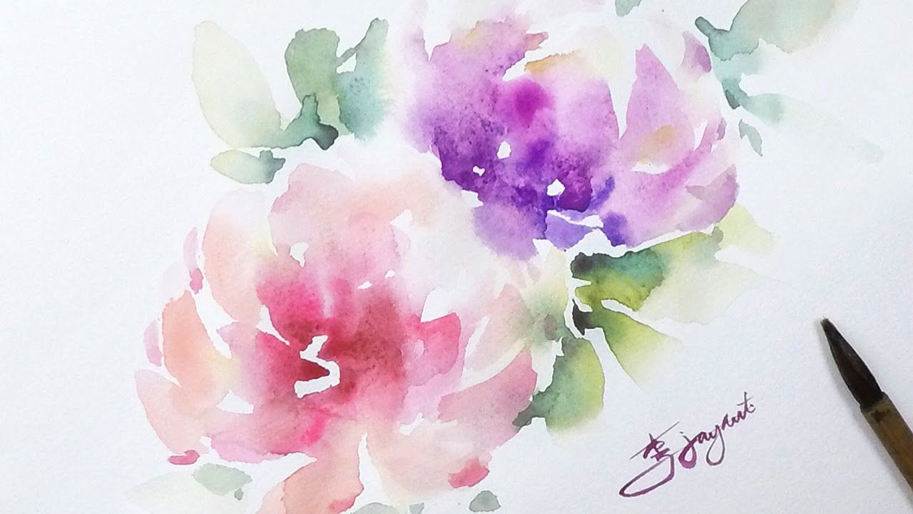 Lvl4 Watercolor Flower Painting Wet On Wet Technique