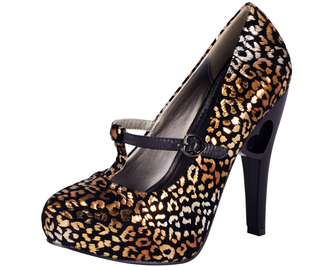 Gold   Silver Foil Leopard Heart Cut Out Heel fa4c2317711