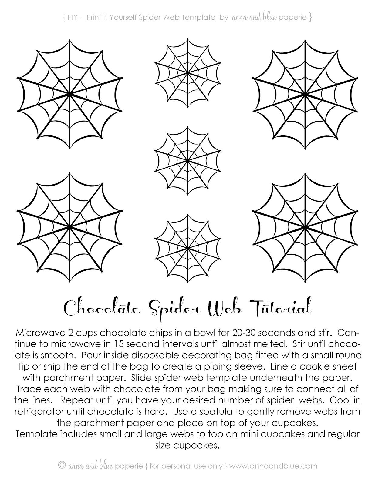 Free Printable~Chocolate Spider Web-Tutorial ....<3anna and blue ...