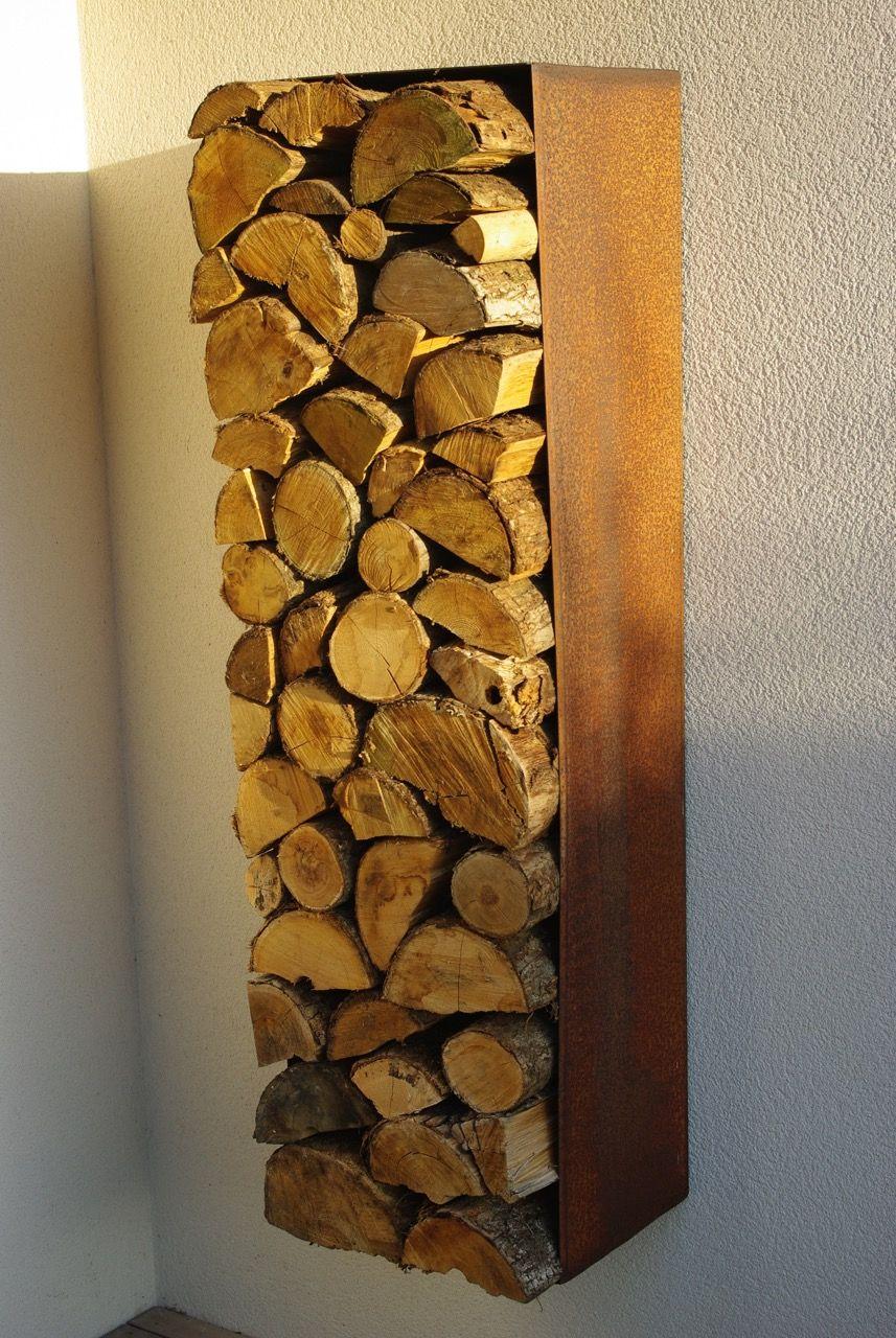 Range Buches En Acier Corten Rangement Bois De Chauffage Range Buche Interieur Amenagement Exterieur