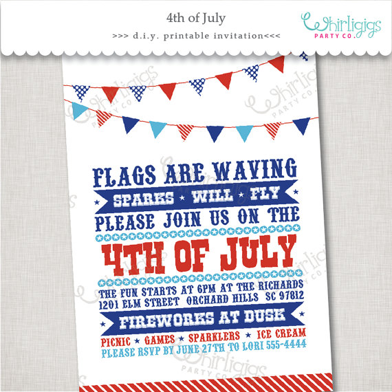 4th Of July Event Invitation Printable Digital File Or Printed Invitations With Envelopes Free S Event Invitation Printed Invitations Patriotic Invitations