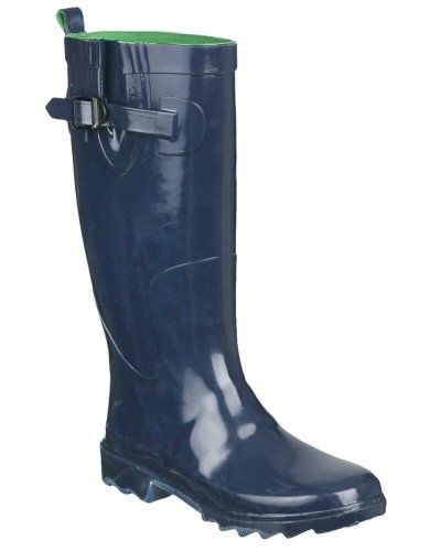 Capelli New York Shiny Solid With Buckle And Gusset Ladies Rain Boot Elite Navy 8 Capelli New York