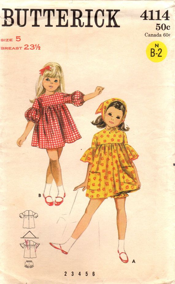 1960s Butterick 4114 Vintage Sewing Pattern Girl\'s High Waisted ...