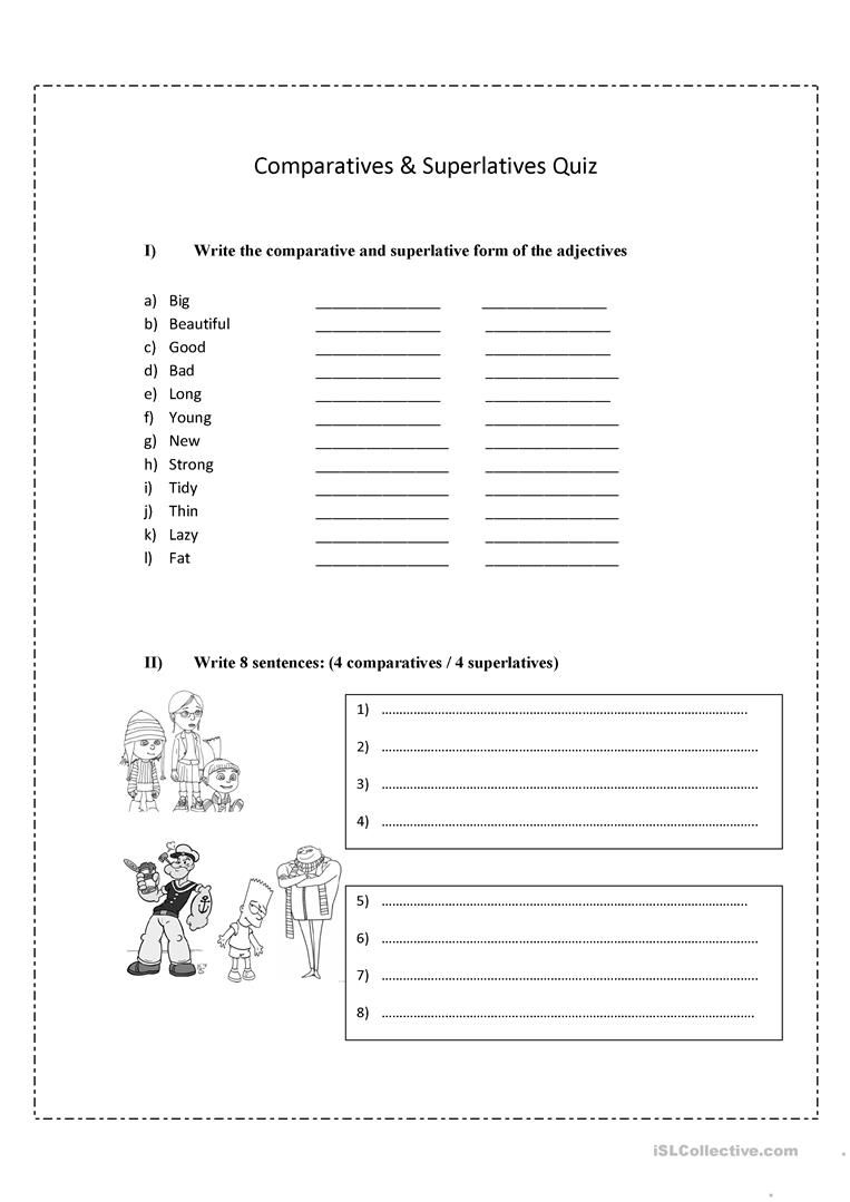 worksheet Comparatives And Superlatives Worksheets comparatives and superlatives worksheet free esl printable worksheets made by teachers