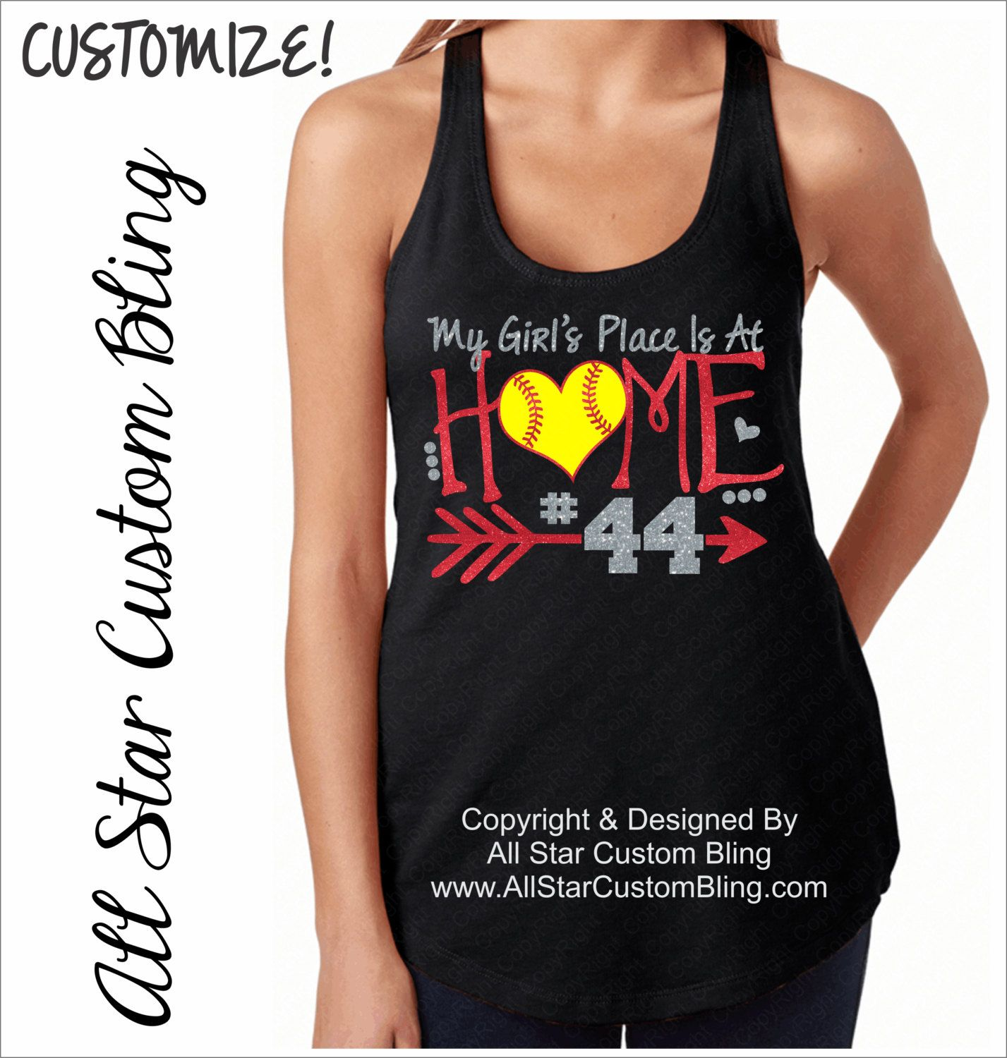 4feea0a399289 My Girl s Place Is At Home Softball Terry Racerback Tank Top with Player  Number