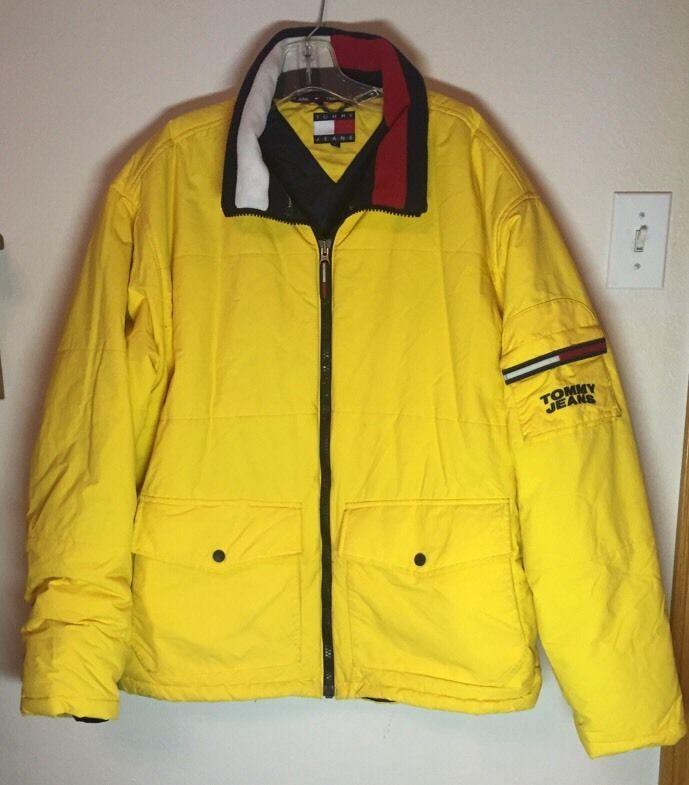 Tommy Hilfiger Vintage 90s Yellow Puffer Insulated Jacket Coat Xl Insulated Jackets Jackets Tommy Hilfiger Vintage
