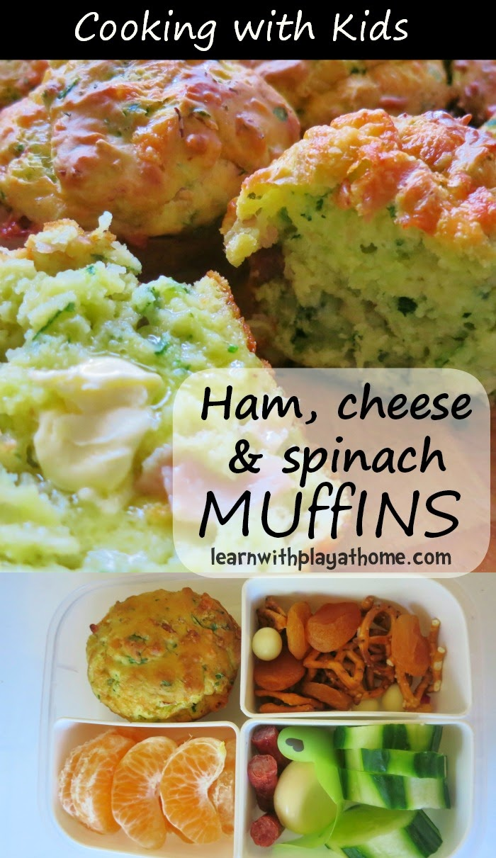 Ham, Cheese and Spinach Muffins. Cooking with Kids