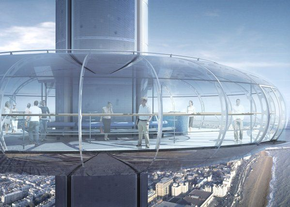 """""""World's first vertical cable car"""" to open on Brighton beach this summer: http://www.dezeen.com/2016/01/18/british-airways-i360-marks-barfield-architects-brighton-east-sussex-vertical-cable-car/ …"""
