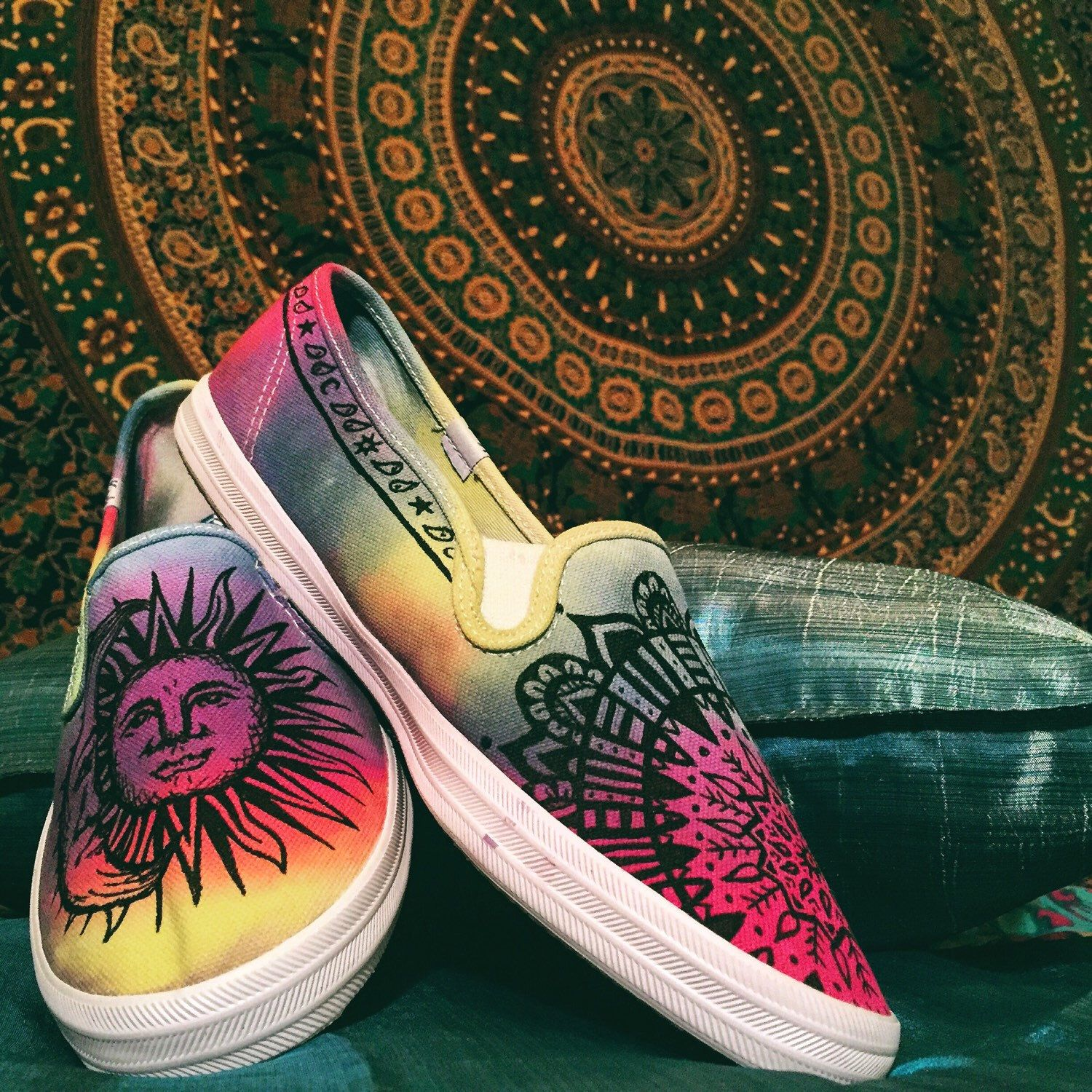 Custom Hand-painted Tie-dye Tapestry Inspired Canvas Shoes by EtsyByVeasey on Etsy https://www.etsy.com/listing/237431644/custom-hand-painted-tie-dye-tapestry