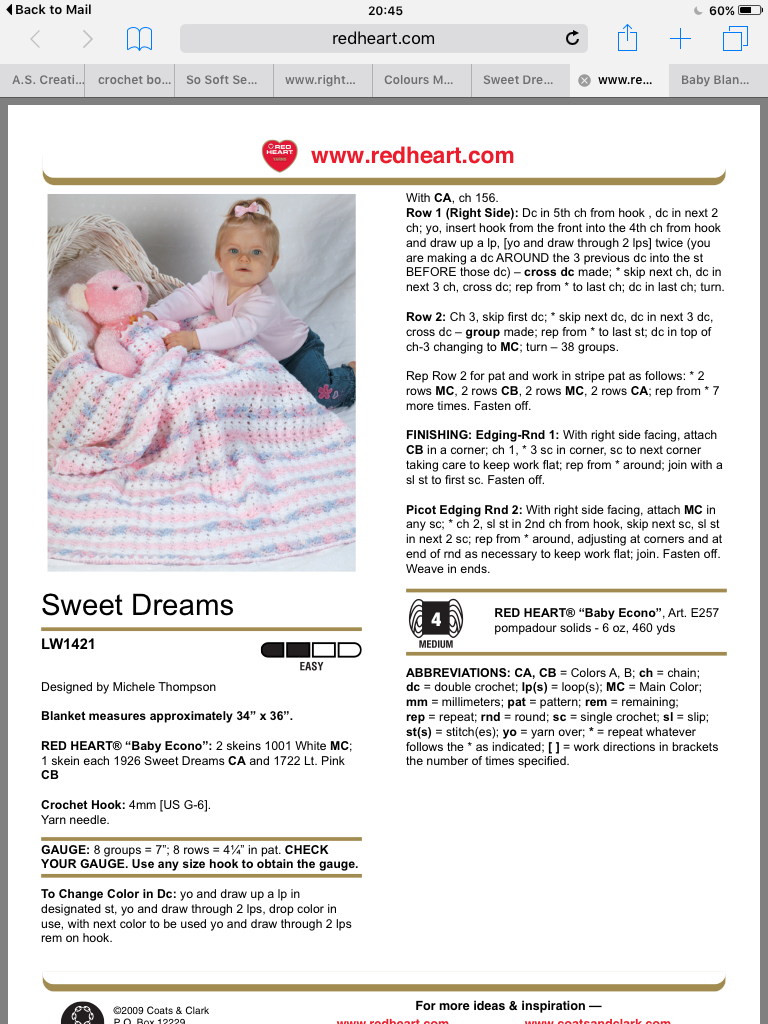 Free pattern off Red Heart called sweet dreams. http://www.redheart ...