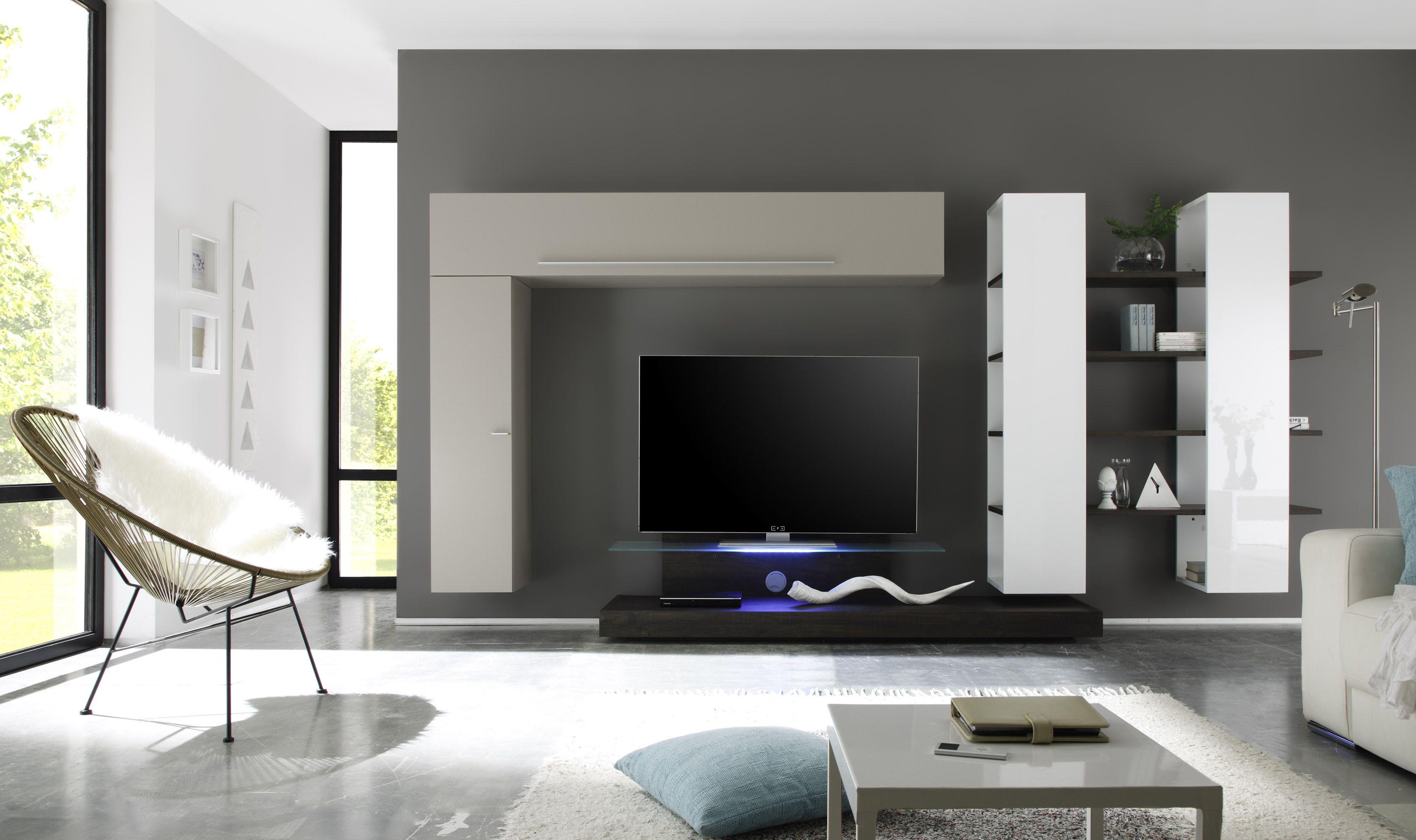 wohnwand beige matt/ weiss lack/ eiche wenge woody 12-00833 modern, Wohnzimmer dekoo