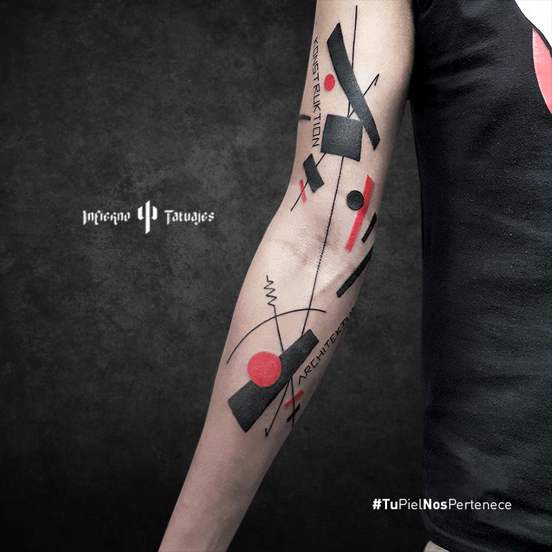 Tatuaje Por Javier Gaona Geometric Tattoo Blanco Y Rojo Red Ink