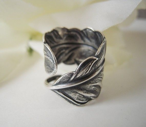 Steampunk Angel Feather Ring Sterling Silver Finish by bellamantra, $25.00