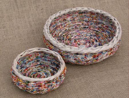 hacer papel cestas de mimbre laminadas redondas cestas circulares