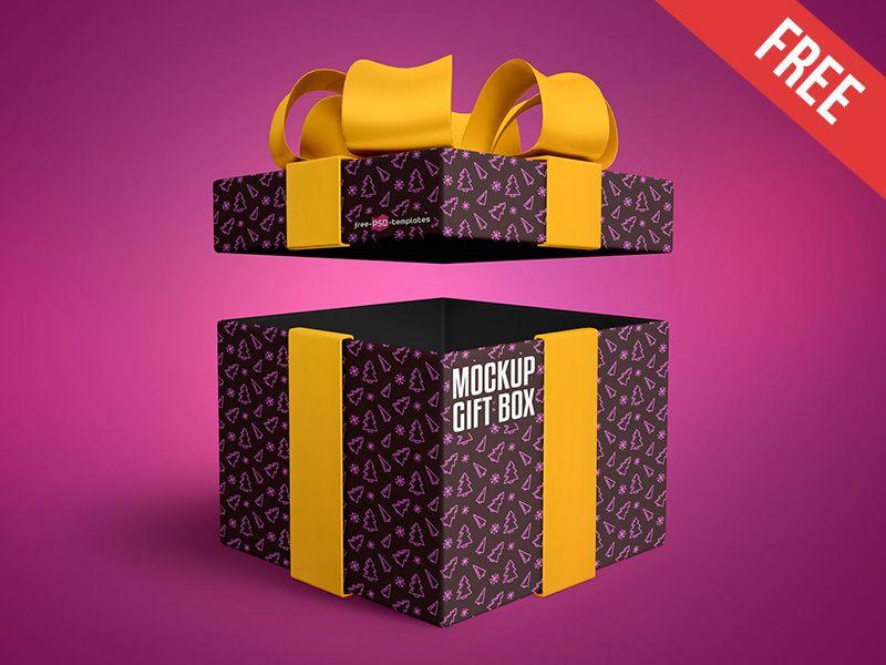 Download Free Gift Box Mock Up In Psd Box Mockup Gift Box Photoshop Mockup Free