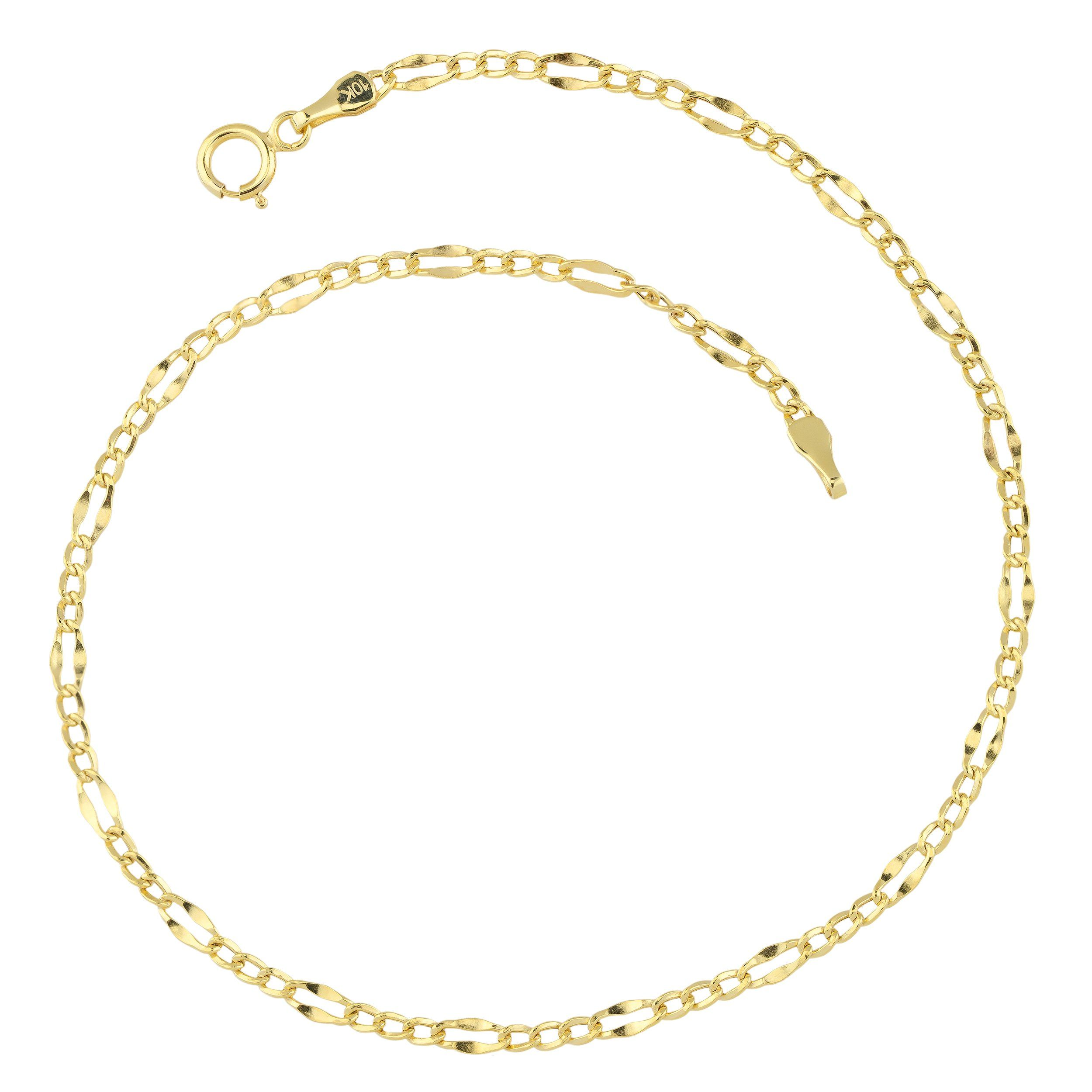 10k Yellow Gold Figaro Link Anklet 2 3mm 9 Inch Learn More By Visiting The Image Link This Is An A Silver Anklets Designs Anklets Western Fashion Jewelry