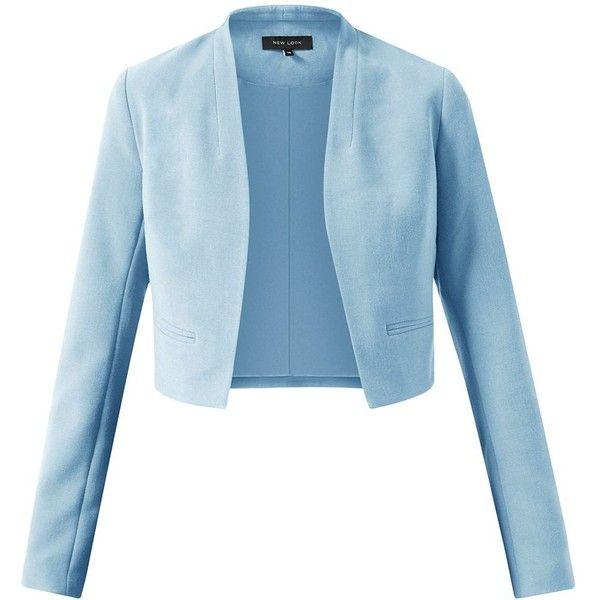 Pale Blue Long Sleeve Cropped Blazer Cropped Blazer Jacket Blue Blazer Jacket Long Sleeves Jacket
