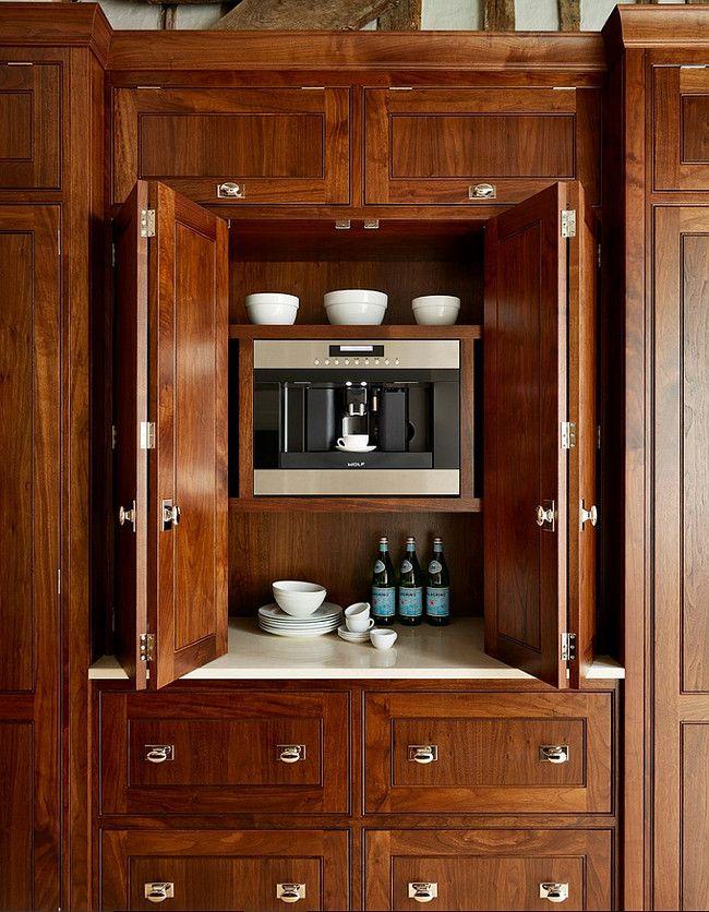 kitchen appliance garage with built in coffee machine